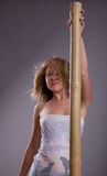 Girl with pole stock photography