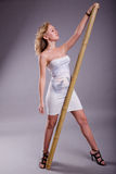 Girl with pole Royalty Free Stock Photo