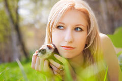 Girl with a polecat. Portrait of the girl with a domestic polecat on hands royalty free stock images