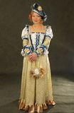 Girl in Polish clothes of 16 century with mirror-fan Royalty Free Stock Images