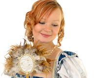 Girl in Polish clothes of 16 century with mirror-fan Royalty Free Stock Photo