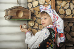 Girl in Polish national costume Stock Images