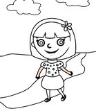 Girl in a polka dots dress coloring page Stock Photos