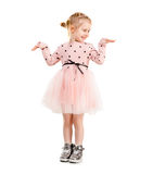 Girl in polkadot clothes, isolated Royalty Free Stock Image