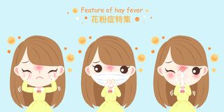Girl with hay fever. Girl with pollen allergy and feature of hay fever in chinese word vector illustration