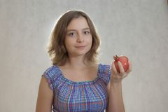Girl with pomegranate Royalty Free Stock Photos