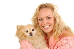 Girl and Pomeranian Stock Image
