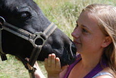 Girl with pony. Portrait of teenage girl with pony Royalty Free Stock Image