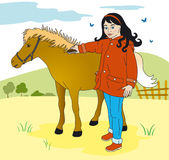 Girl and pony. Child in the country caring for a pony Stock Illustration