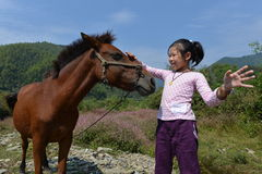 Girl and pony Stock Images