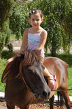 Girl on a pony. Little girl on a pony in the summer park Royalty Free Stock Photography