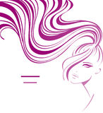 Girl with ponytail. Vector background with beautiful young girl. Hair icon vector illustration