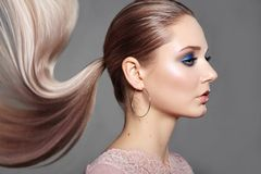 Girl with Ponytail Hairstyle. Shiny Straight Hair, Fashion Makeup on Model Face. Woman with Healthy Skin, Party Make-up royalty free stock image