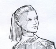 Girl with ponytail pencil sketch stock photos