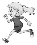 Girl with ponytail running Royalty Free Stock Photography