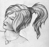 Girl with ponytail - sketch royalty free stock image