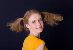 Girl with ponytails Royalty Free Stock Photos