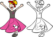 Girl in Poodle Skirt. Cartoon image of a girl dressed in a poodle skirt - color and black/white versions Royalty Free Stock Photos
