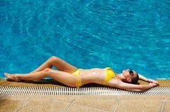 Girl at pool Royalty Free Stock Photos