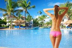 Girl at pool Stock Photos