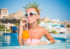 Girl in pool bar Stock Photo