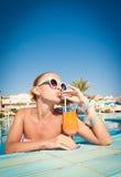 Girl in pool bar Royalty Free Stock Image