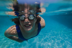 Girl Pool Goggles Underwater Stock Image