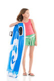Girl with pool raft Royalty Free Stock Images