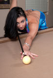 Girl in the pool table Royalty Free Stock Images