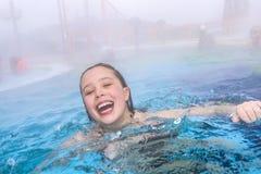 Girl in a pool Stock Photo