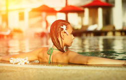 Girl in pool Royalty Free Stock Photo