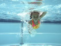 Girl in pool underwater Stock Photography