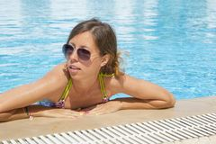 Girl at the pool Royalty Free Stock Photography