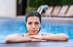 Girl at Poolside stock image