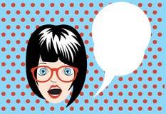 Girl pop art poster with cloud speech Stock Photography