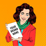 Girl in Pop Art Style Holding Banner for Your Text Royalty Free Stock Image