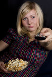 Girl with popcorn Royalty Free Stock Images
