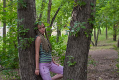 Girl in poplar forest Royalty Free Stock Photos