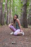 Girl in poplar forest Stock Photo