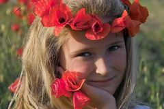 Girl in poppies. Girl's portrait in poppies' field Royalty Free Stock Image