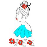 Girl with poppies. Retro portrait of a girl with poppies. Flying blue dress, ribbon in her hair Stock Photos