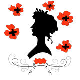 Girl with poppies. Retro portrait of a girl with poppies. Flying blue dress, ribbon in her hair Stock Images