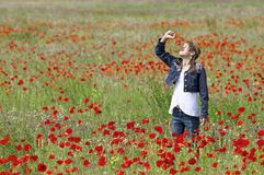 Girl with poppies smelling Stock Photos