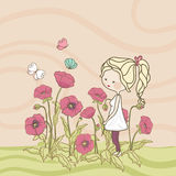 Girl in poppy field. Cute little girl playing with butterflies in poppy field Royalty Free Stock Photography