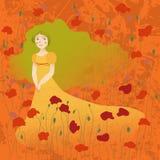 Girl in poppy field. Dreamy girl standing in the poppy field Royalty Free Stock Image