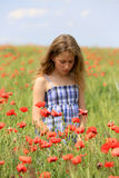 Girl on poppy meadow Royalty Free Stock Photography