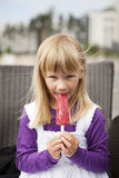 Girl with popsicle Stock Photo