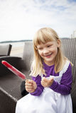 Girl with popsicle Royalty Free Stock Photo