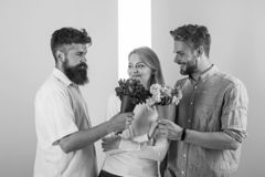 Girl popular receive lot men attention. Men competitors with bouquets flowers try conquer girl. Love triangle. Woman royalty free stock photo
