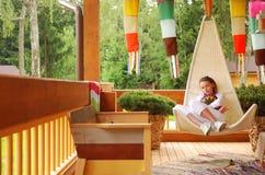girl porch Στοκ Φωτογραφία
